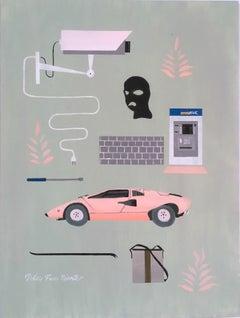 The Sweetness of Doing Nothing, 2018, Lamborghini, Gucci bag, crowbar, ski mask