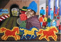 WILD HORSES, 2016, subway train, curve, graffiti, street art, figurative, panel