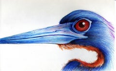 Long Necked (Blue with Red Eyes), 2018
