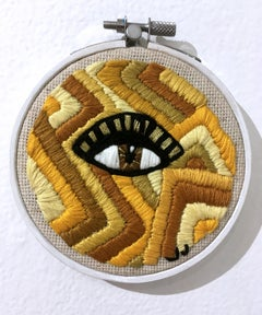 Axis: Bold as Love, Yellow, bold stripes embroidery, wood hoop, eye, figurative