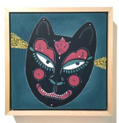 Yako, 2018, blue, cat, mask, glitter, acrylic, ink and glitter on panel