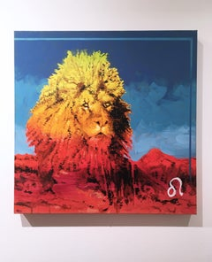 Leo, 2017, zodiac, lion, red, yellow, blue, animal, figurative