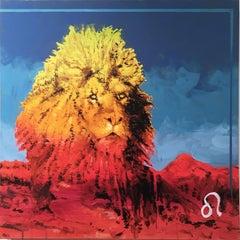Leo, 2017, zodiac, lion, red, yellow, blue, animal, figurative