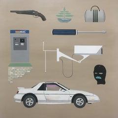 Spree on Fire, 2018, 80's Pontiac Fiero, Gucci bag, Camera, ski mask, atm, tan