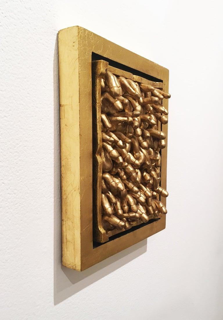 All Kinds, 2018, Gold leaf, wall sculpture, anatomy, frame For Sale 2