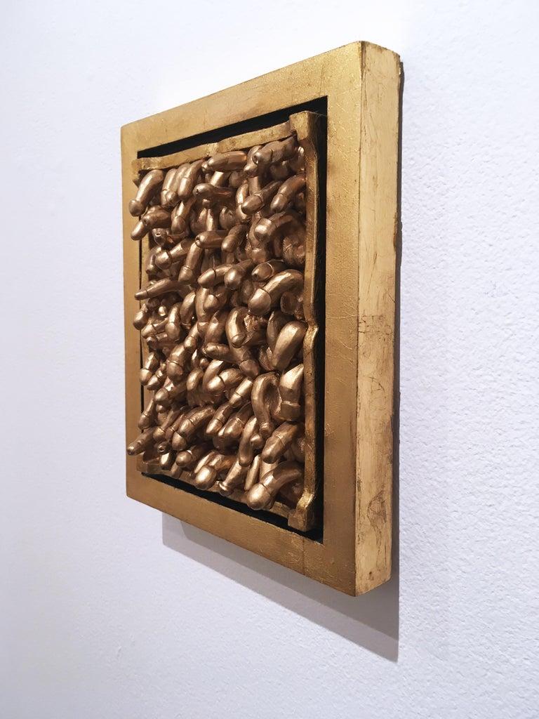 All Kinds, 2018, Gold leaf, wall sculpture, anatomy, frame For Sale 1