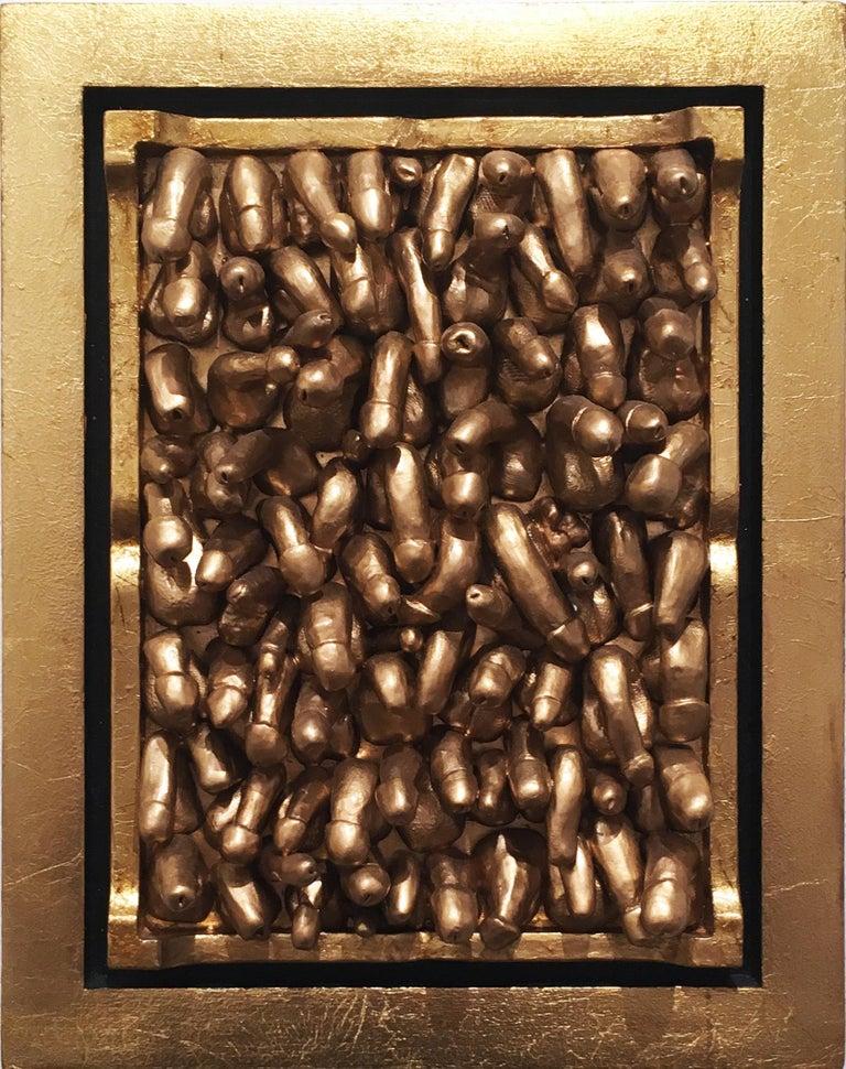 All Kinds, 2018, Gold leaf, wall sculpture, anatomy, frame For Sale 5