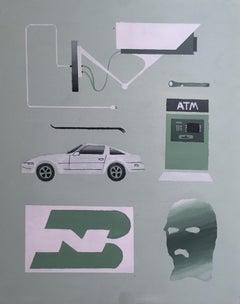 Vermont Part 1, 2018, Porsche, crowbar, security camera, ski mask, atm, green