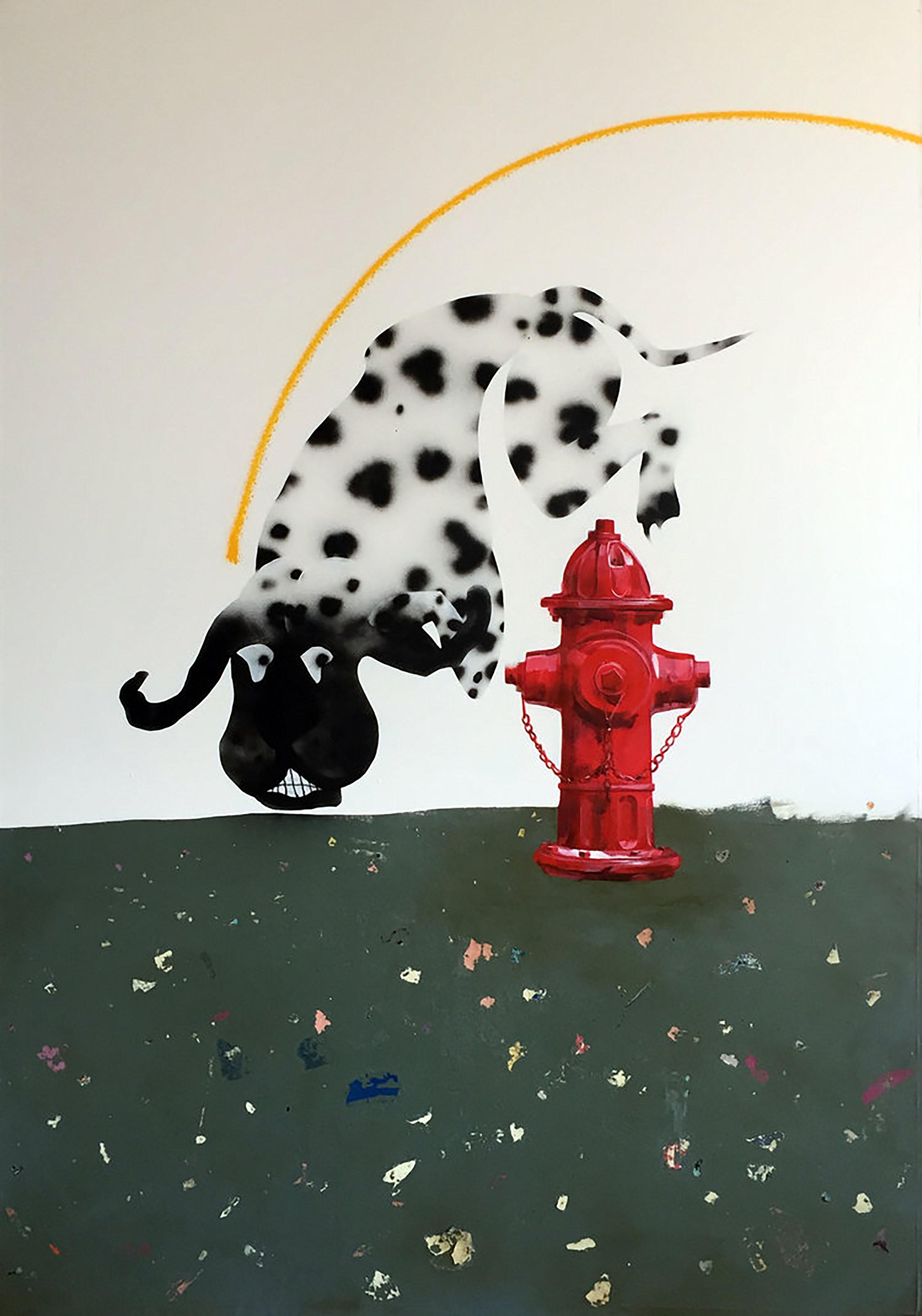 Hot Pavement, 2017, dalmatian, fire hydrant, animal, dog, figurative, white, red
