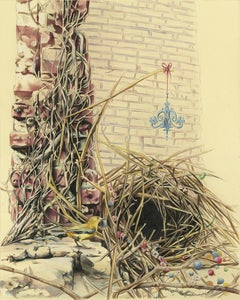 A Structure, 2017, bower bird, nature, animal, pattern, drawing, framed