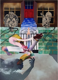 Frantic Phone Call to Mom, cherubs, spray paint, iron gate, surreal, figurative