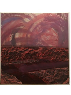Red Wine Oregon Pinot (mountainscape), landscape, spray paint, acrylic and paper