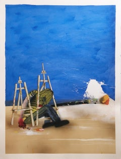 PRIMARIES (BLUE), 2017, paint brush, easel, works on paper, acrylic, figurative