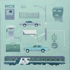 Trenitalia Misgivings, 2018 trains, cars, atm, ski mask, acrylic on panel camera