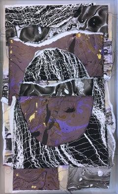 Space Egg, 2018, hand embellished serigraph, screen print, custom frame, purple