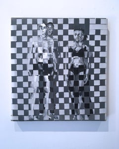 """""""B & W is Grey 2"""" black and white, woven oil painting on canvas, 2019"""