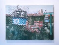 """""""Casa De Campo"""", woven landscape oil painting on canvas, 2019"""