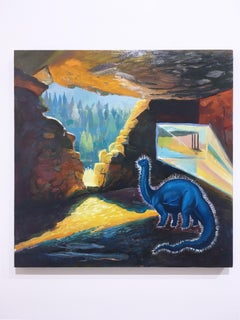 Fossil Fuel (small), surrealist, landscape, oil and gouache on cradled panel