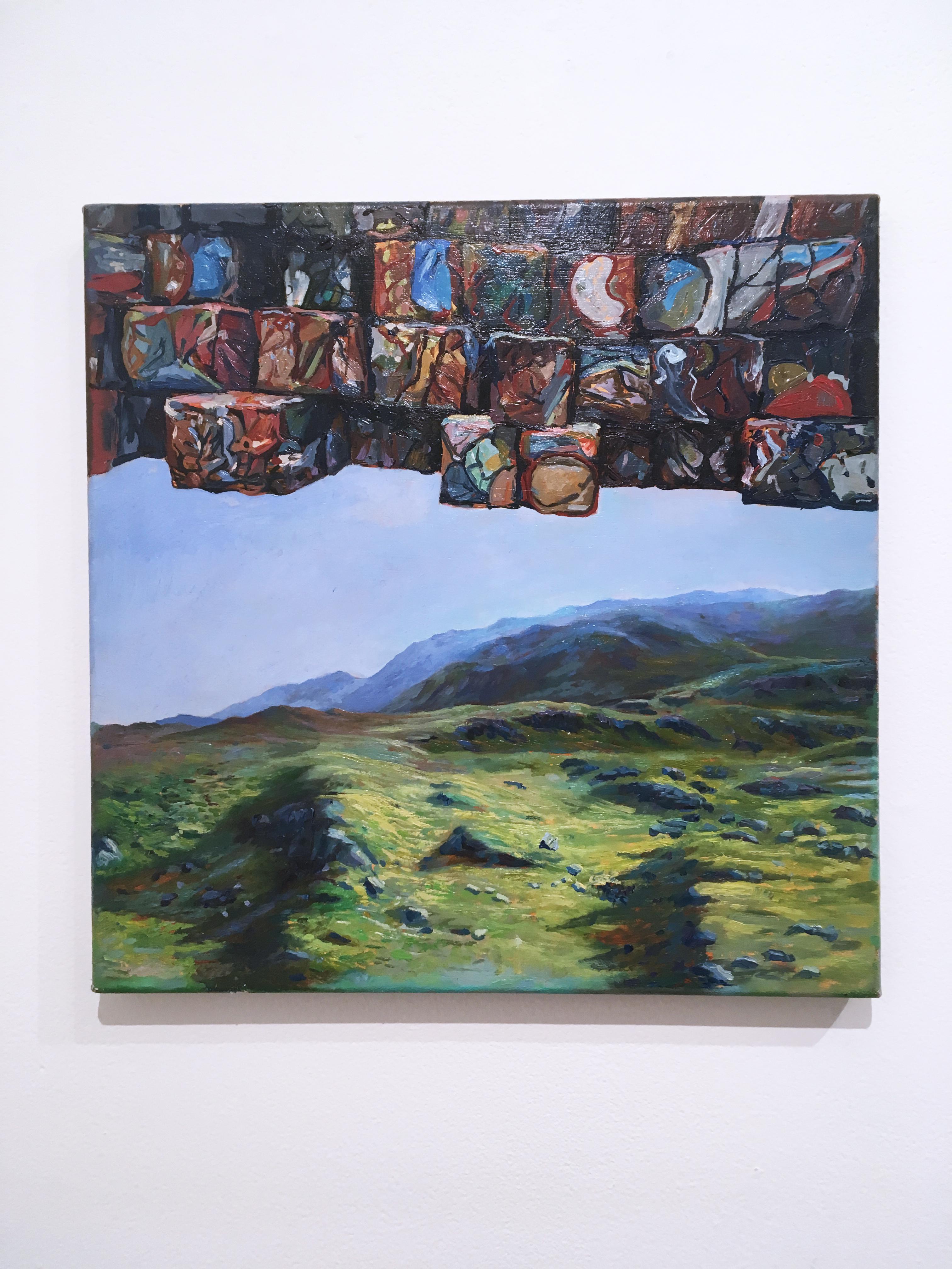 Crushed Oil Cans, surrealist, figurative, landscape, oil on linen, 2015