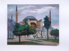 Istanbul Hagia Sophia, plein air figurative, landscape, oil on panel, 2014