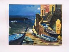 Riomaggiore, plein air figurative, landscape, oil on panel, 2016