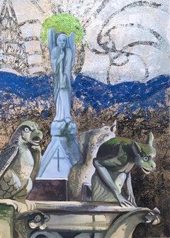 Notre Dame Roof, landscape, watercolor and metal foil on paper, 2018.  Framed