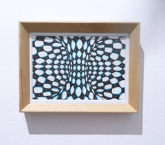Outside In I, paint pen, ink, marker, paper, op-art, black, white, blue, framed