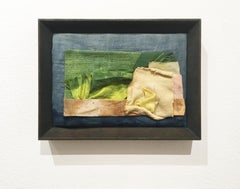 Inner Landscapes - Garden Canvas, natural hand-dyed cotton, silk, fabric, frame