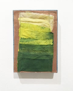 Inner Landscapes - Field, canvas, natural hand-dyed cotton, silk, fabric, green