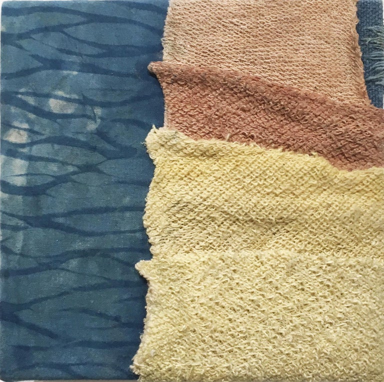 Inner Landscapes - Current, natural hand-dyed cotton, silk, fabric, blue, cream - Contemporary Mixed Media Art by Talita do Nascimento Cabral