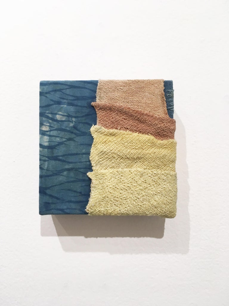 Inner Landscapes - Current, natural hand-dyed cotton, silk, fabric, blue, cream - Mixed Media Art by Talita do Nascimento Cabral