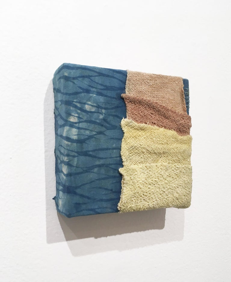 Inner Landscapes - Current, natural hand-dyed cotton, silk, fabric, blue, cream For Sale 1