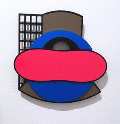 Ebena, acrylic, aluminum, vinyl, wall sculpture, abstract geometric, pink, blue