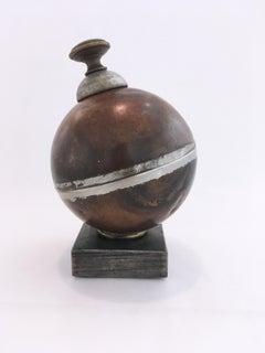 Float Stash, steel, brass, bone, found object, sculpture, sphere, abstract