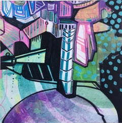"My 80's Heart ""Token 5"" 2019, gouache, acrylic, graphite, panel, purple, green"