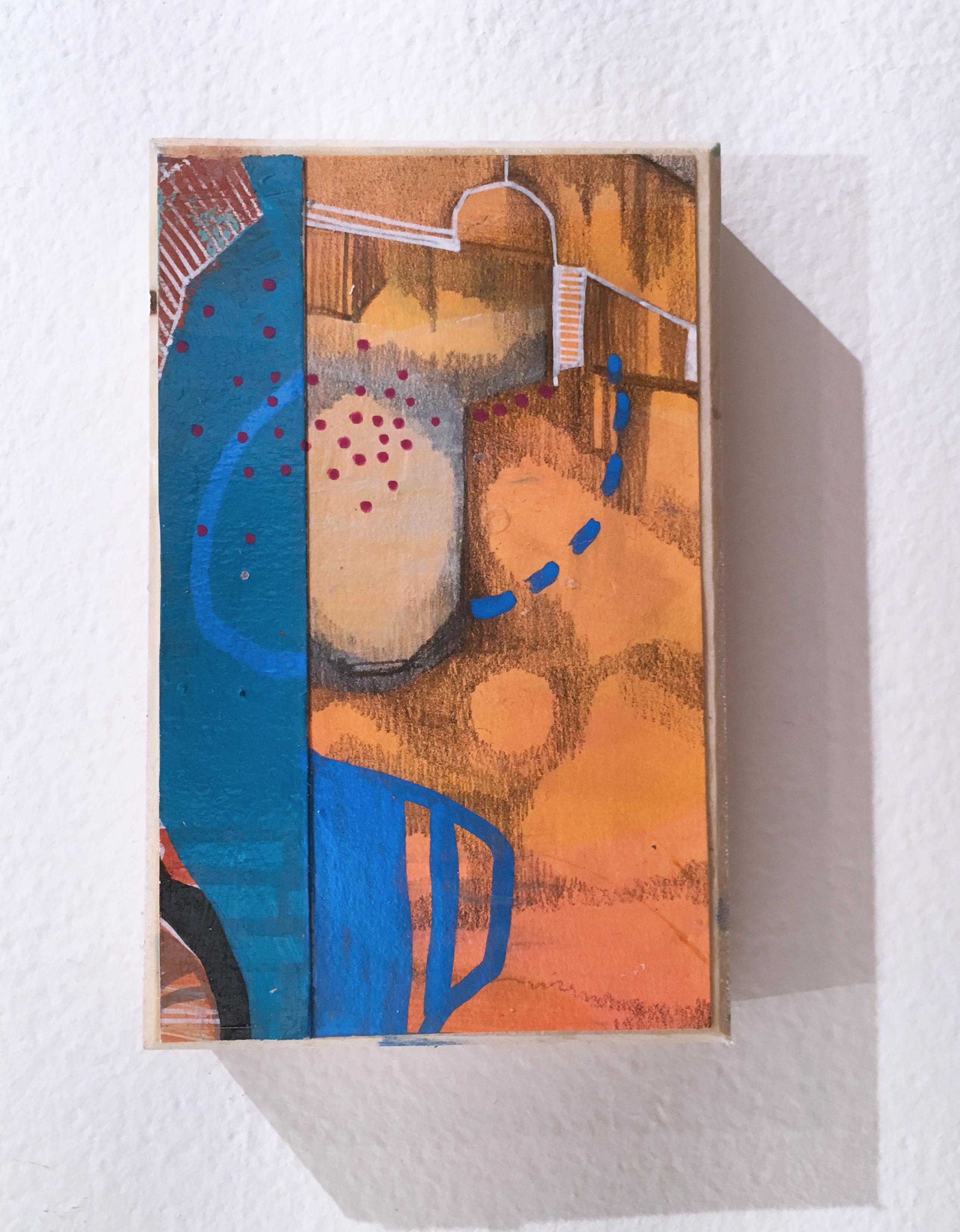 "My 80's Heart ""Token 9"" 2019, gouache, acrylic, graphite, panel, blue, orange"