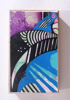 "My 80's Hart ""Token 10"" 2019, gouache, acrylic, graphite, panel, blue, purple"