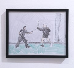 Sword Fight, 2018, pen and crayon on paper, figurative, drawing, framed
