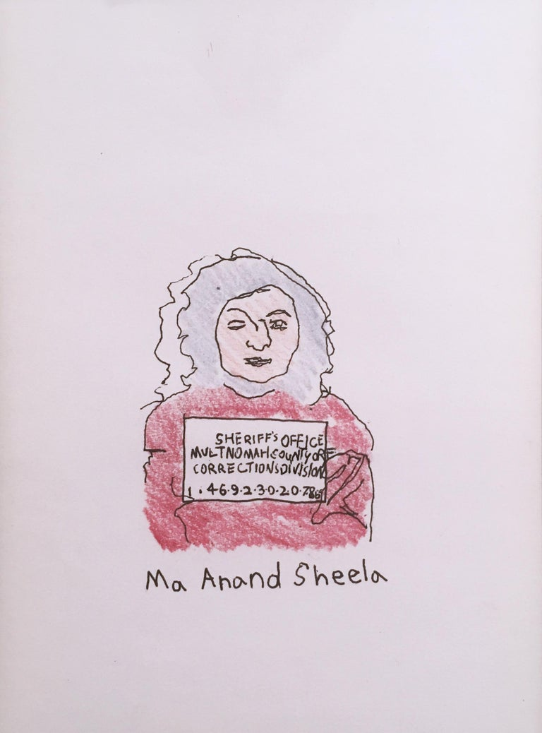 Ma Anand Sheela, 2018, pen and crayon on paper, figurative, drawing, framed - Painting by Macauley Norman