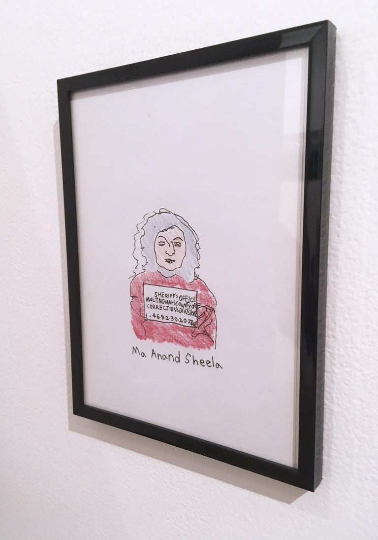 Ma Anand Sheela, 2018, pen and crayon on paper, figurative, drawing, framed - Contemporary Painting by Macauley Norman