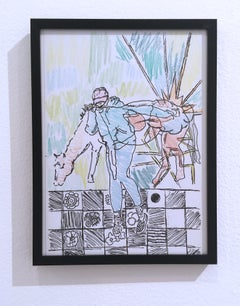 A Girl and a Horse, 2018, pen and crayon on paper, figurative, drawing, framed