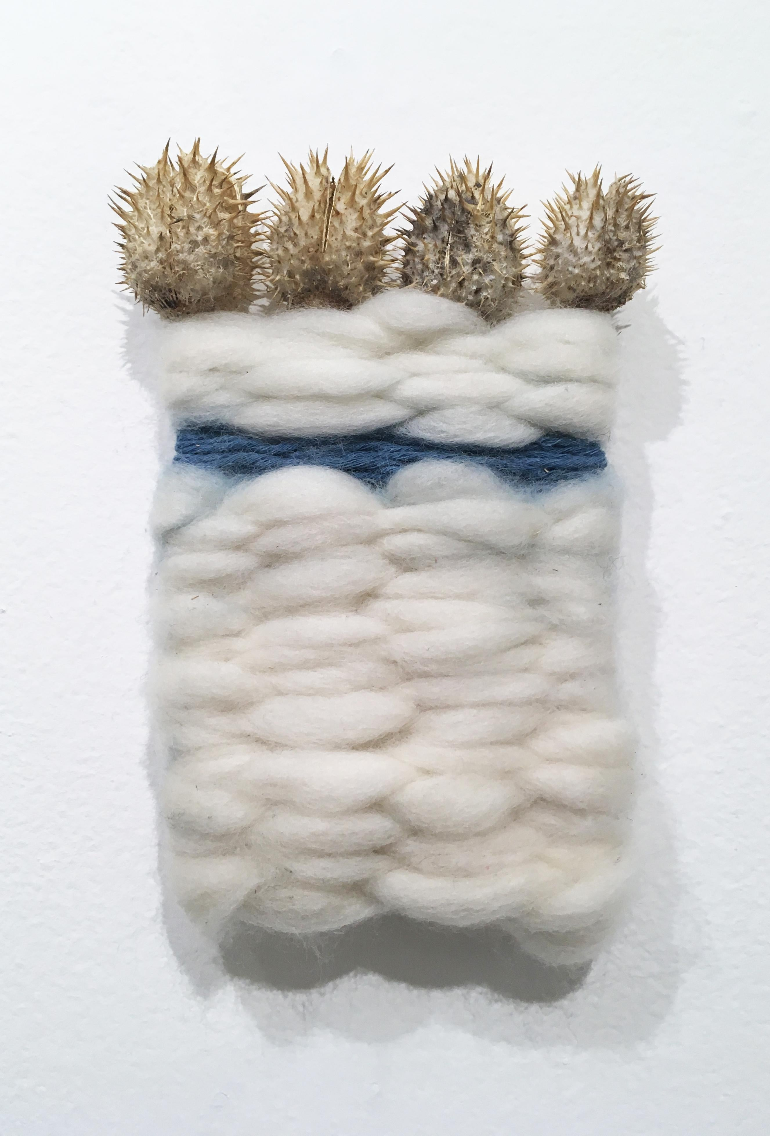 Wood and Thistle II, natural hand-dyed cotton, indigo, fabric, blue, wool, gold