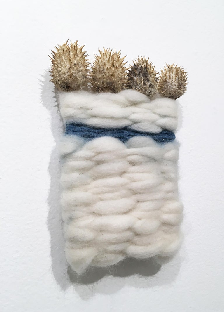 Wood and Thistle II, natural hand-dyed cotton, indigo, fabric, blue, wool, gold - Contemporary Mixed Media Art by Talita do Nascimento Cabral