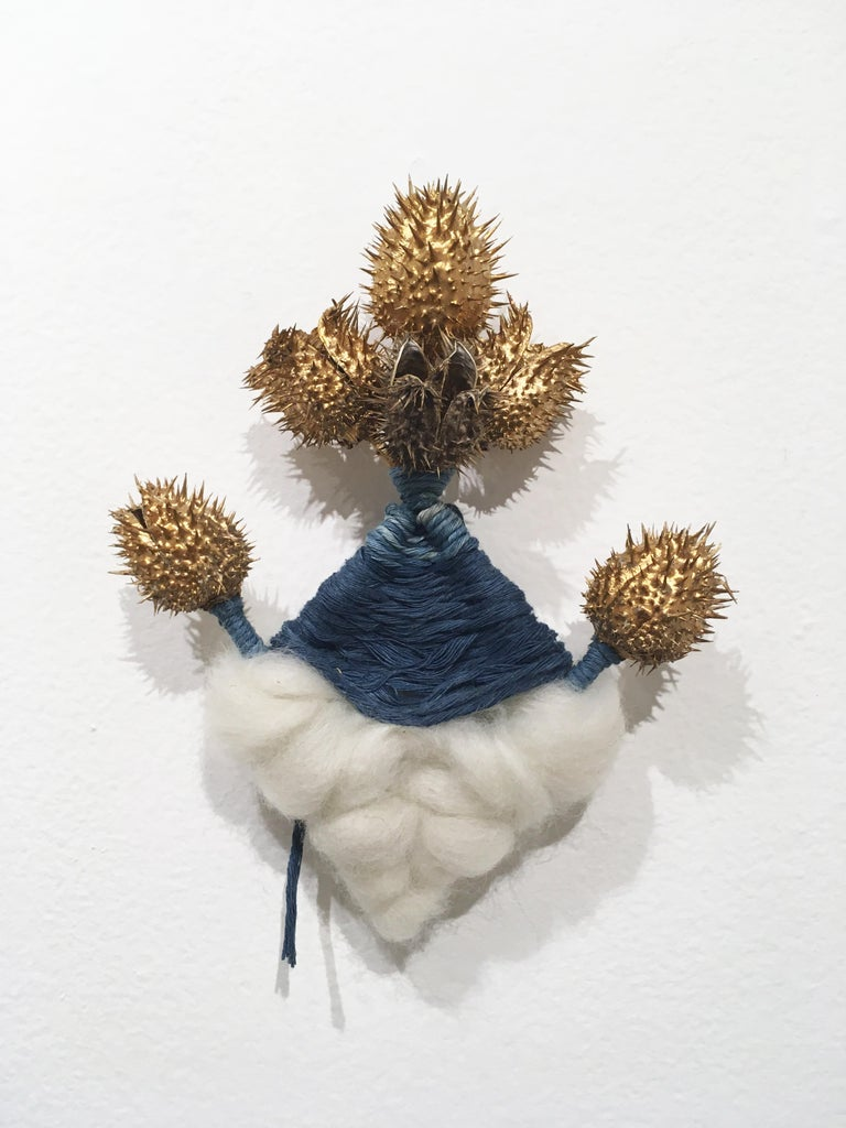 Cloud and Thistle, natural hand-dyed cotton, indigo, fabric, blue, wool, gold - Art by Talita do Nascimento Cabral