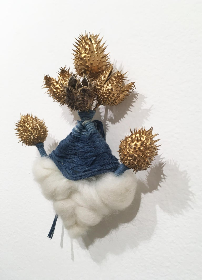 Cloud and Thistle, natural hand-dyed cotton, indigo, fabric, blue, wool, gold - Contemporary Art by Talita do Nascimento Cabral