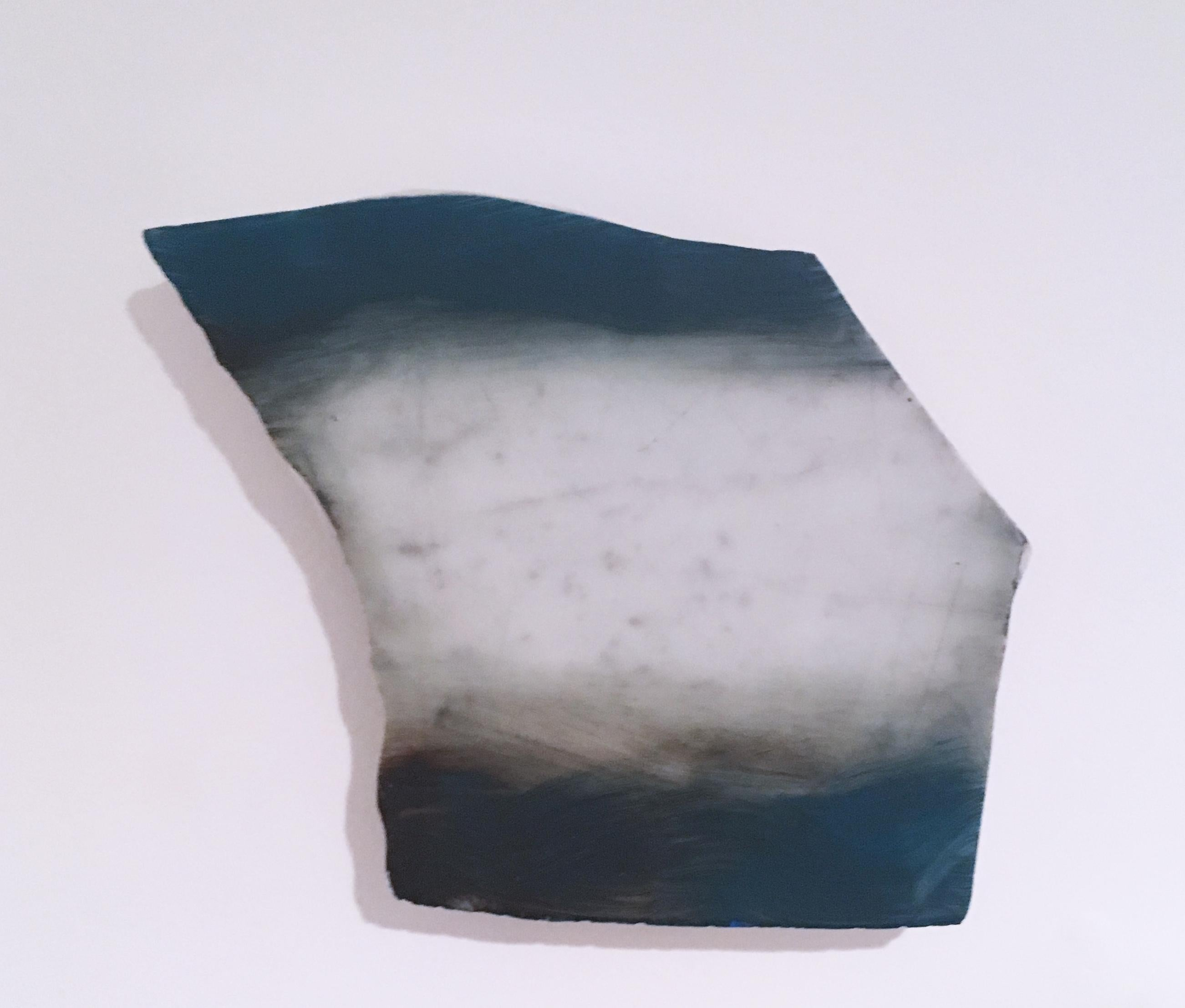 """Untitled """"Marble Fragment 1"""" 2019, acrylic, landscape, wall sculpture, clouds"""