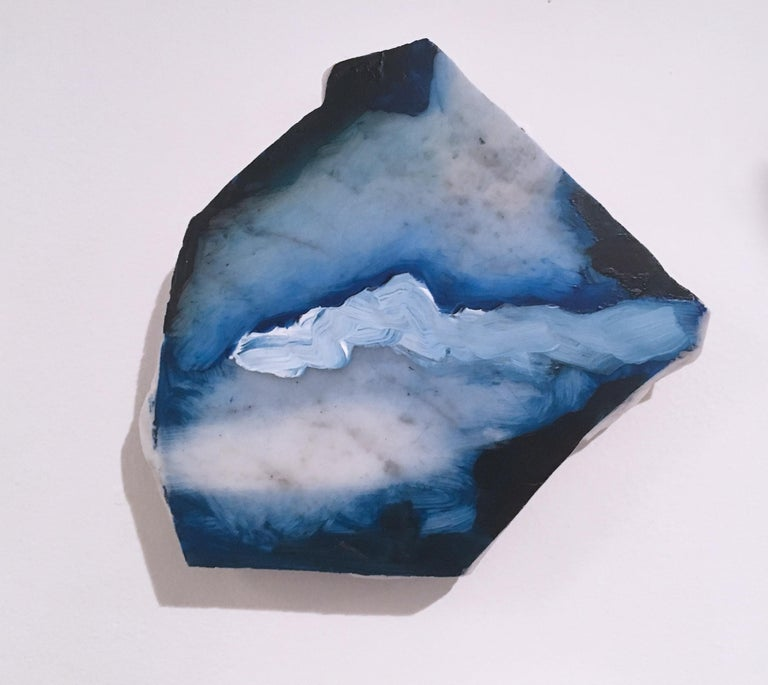"""Tom Banks Abstract Sculpture - Untitled """"Marble Fragment 3"""" 2019, acrylic, landscape, wall sculpture, clouds"""