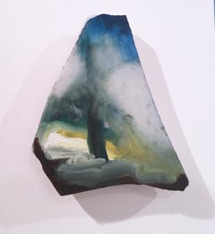 "Untitled ""Marble Fragment 9"" 2019, oil, landscape, wall sculpture, clouds, blue"
