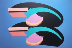 Zenice, 2019, acrylic on canvas, abstract geometric, teal, pink, orange, blue