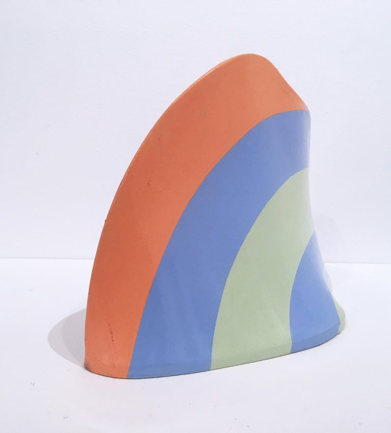 Acrylic and resin on 3-D stretched canvas. Sculpture, blue, green, orange. Abstract, biomorphic.